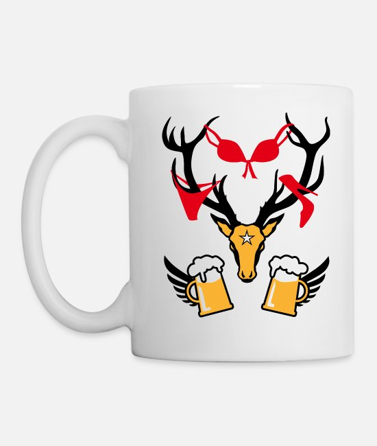 Highheels Mugs & Drinkware - 242 deer with prey deer head beer - Mug white