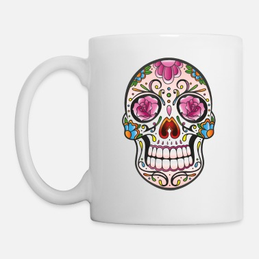 Floral Mexican Sugar Skull, day of the dead - Mug