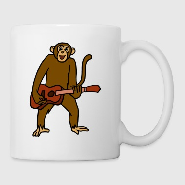 Monkey Playing Guitar Rock Guitarist Cartoon - Tazza
