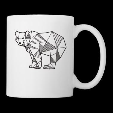 Oso, líneas geométricas, regalo, idea, animal, oso - Taza