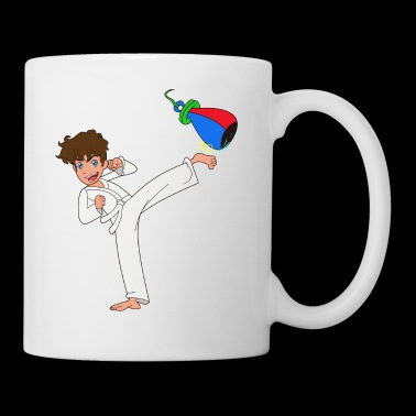 Dibujos animados karate boy kick regalo idea - Taza