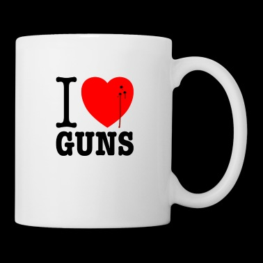 I love guns! Weapons satire. Bullet hole with blood - Mug