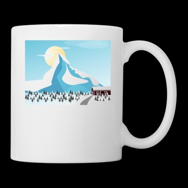 Winter, mountains, house, firs, romantic gift - Mug