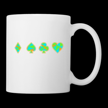 Jeu de cartes Neon Skat Poker Gift Player Heart - Mug blanc