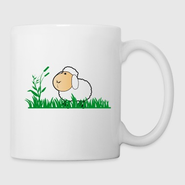 Funny sheep in green grass - Mug