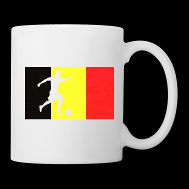 Football Belgique Footballer fan drapeau cadeau - Mug blanc