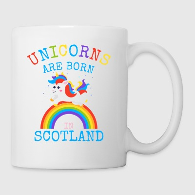 Unicorns är födda i Scotland.Funny Sottish Gifts - Mugg