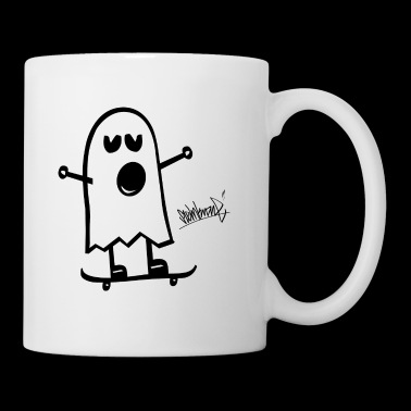 Funny Ghost Funny Spirit Planche à roulettes Steinkrone - Mug blanc