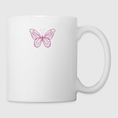 Butterfly in pink, hand drawn - Mug
