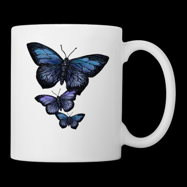 Papillon Animal Vintage Flying Flowers Retro - Mug blanc