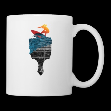 Surfergirl gift surfboard surf wave sea - Mug