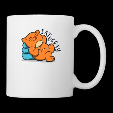 Cute Lovely Cat Lazy And Relax Saturday - Mug