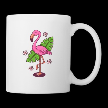 Flamingo pink green leaves idea de regalo - Taza