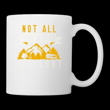 not all who Wander are Lost T-Shirt mit Bergen - Tasse