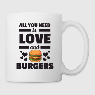 Funny All You Need is Love and Burgers Camiseta - Taza