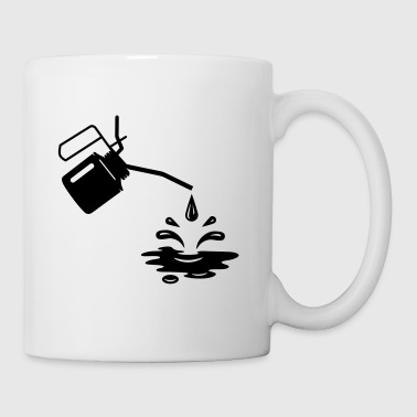 An oil can and oil drops  - Mug
