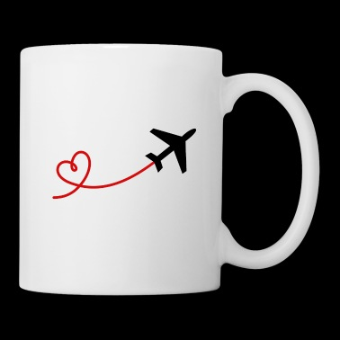 Airplane aviator with heart in black red - Mug