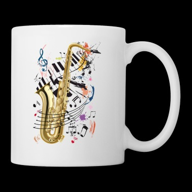 Sax, piano and notes - Mug