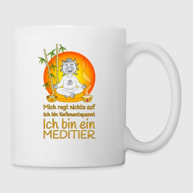 Meditier Nashorn tiefenentspannt orange - Tasse
