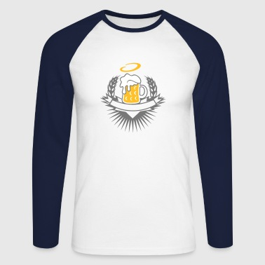 beer in a beer mug with ears of wheat and halo - Men's Long Sleeve Baseball T-Shirt