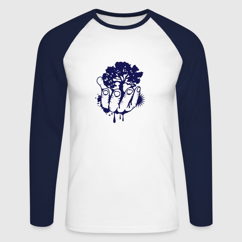 A tree held by a hand - Men's Long Sleeve Baseball T-Shirt