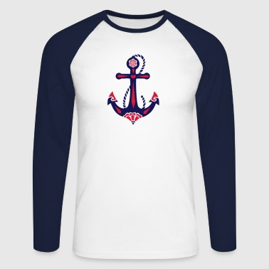 Anchor & Sacred Rose, Symbol Hope, Faith & Love - Men's Long Sleeve Baseball T-Shirt