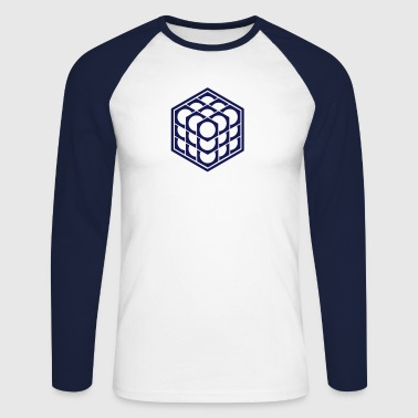 3D Cube - crop circle - Metatrons Cube - Hexagon / - Miesten pitkähihainen baseballpaita