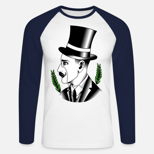 Zylinder Tattoo Monokel Manner Baseball Langarmshirt Spreadshirt