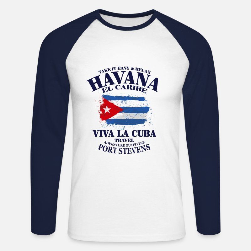 Cuba Long Sleeve Shirts - Havana - Cuba Flag - Men's Longsleeve Baseball T-Shirt white/navy