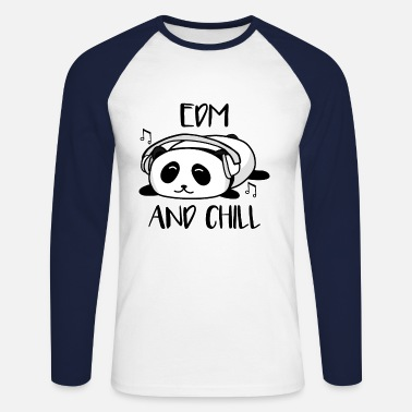 EDM et Chill Panda Music Animal Ours Cadeau - T-shirt baseball manches longues Homme