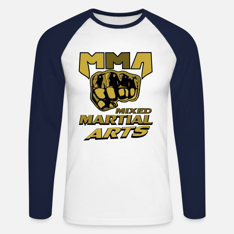 Mma Manches longues - Poing free fight MMA Mixed Martial Arts - T-shirt manches longues baseball Homme blanc/marine