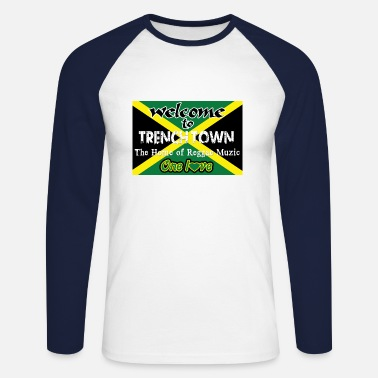 welcome to trench town the home of reggae muzic - Mannen baseball longsleeve