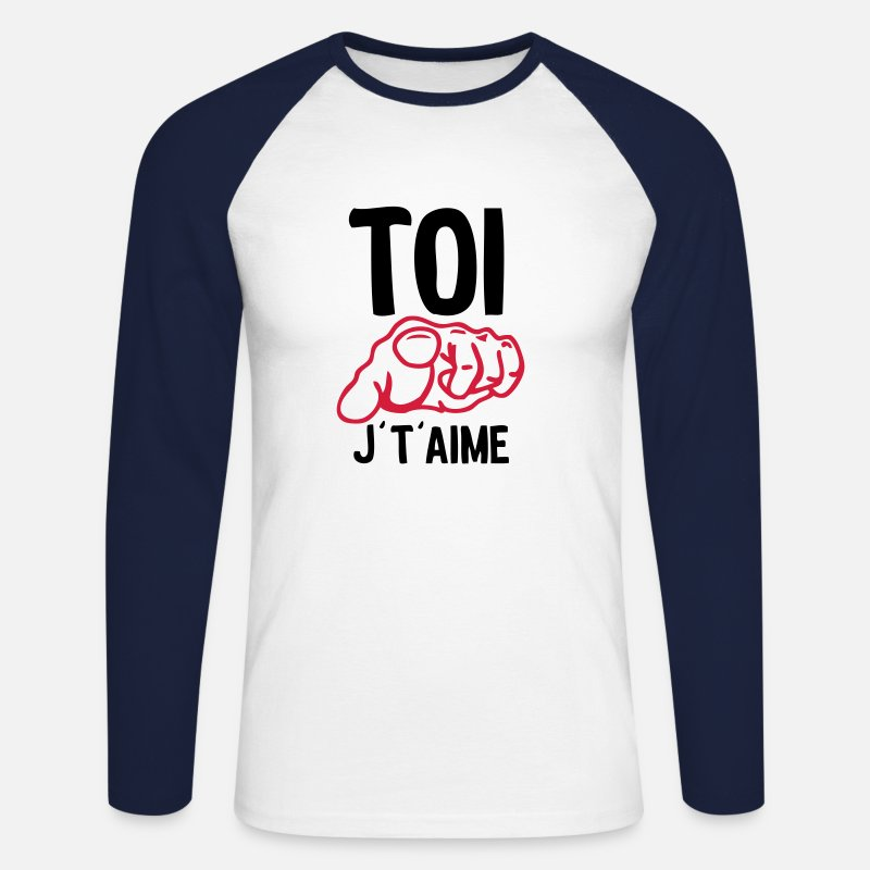 Humour Manches longues - toi doigt aime - T-shirt manches longues baseball Homme blanc/marine