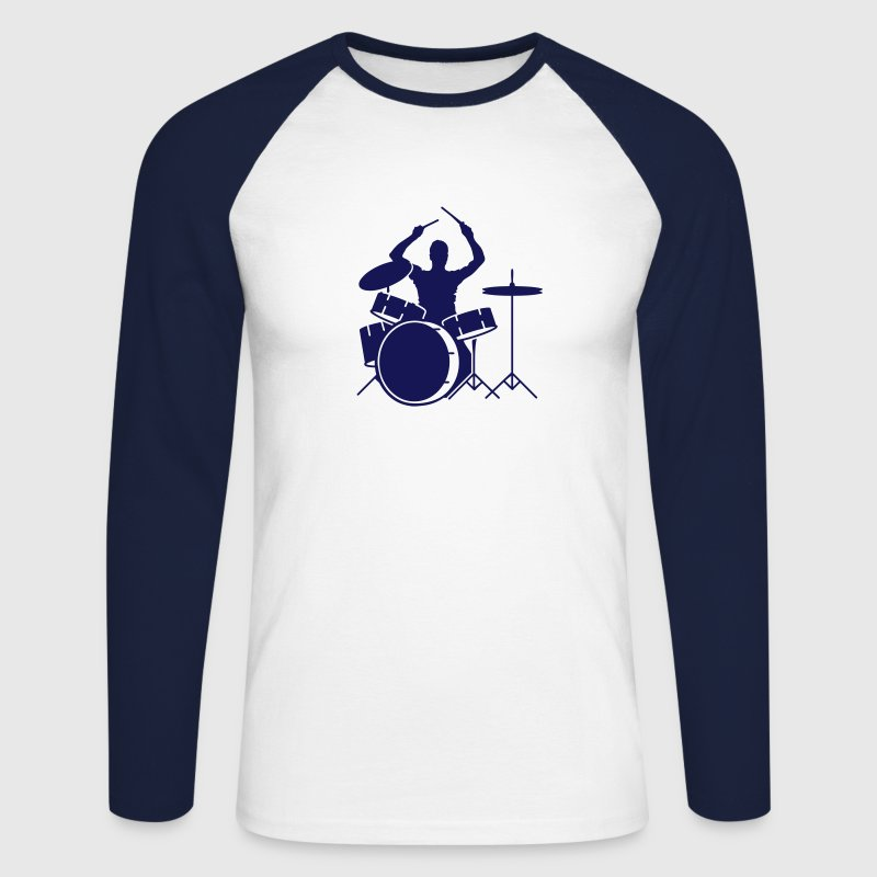 drummer and drums - Men's Long Sleeve Baseball T-Shirt