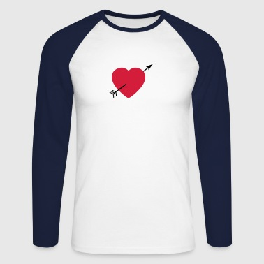 Heart round with arrow - Maglia da baseball a manica lunga da uomo