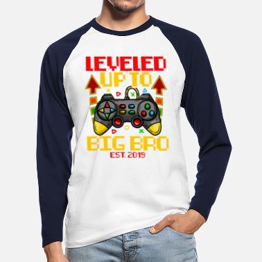 Leveling Up Big Brother Geboorte Big Brother T-shirt Level Up Kid Baby - Mannen baseball longsleeve