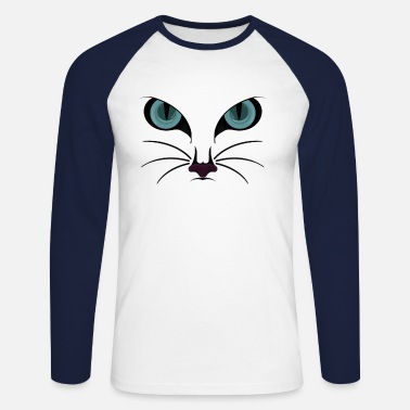 Cat Face Cat Face II / cat face - Men's Longsleeve Baseball T-Shirt