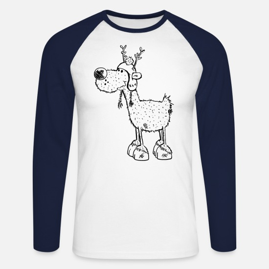 Stag Long sleeve shirts - Sweet Reindeer with bobble cap - Sketch - Gift - Men's Longsleeve Baseball T-Shirt white/navy