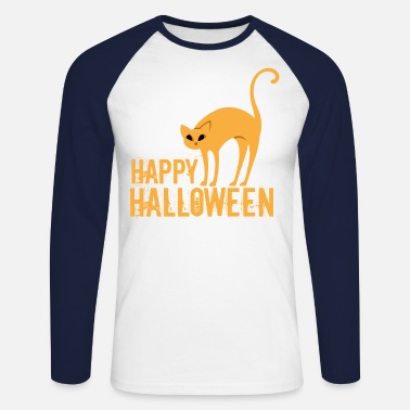 Acide Chat d'Halloween heureux - T-shirt manches longues baseball Homme