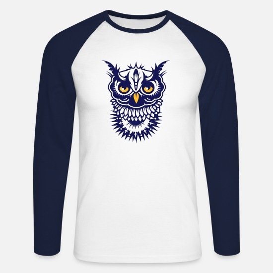 Tattoo Long sleeve shirts - Face of an owl - Men's Longsleeve Baseball T-Shirt white/navy