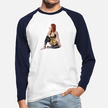 Erotic Showgirl in sexy outfit - Men's Longsleeve Baseball T-Shirt