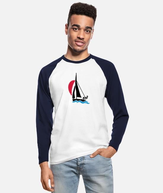 Water Long-Sleeved Shirts - Dinghy with spinnaker - Men's Longsleeve Baseball T-Shirt white/navy