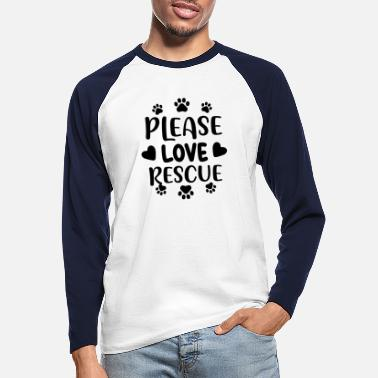 Woof Please love rescue 01 - Men's Longsleeve Baseball T-Shirt