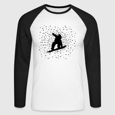 Pixel  Snowboarder - Men's Long Sleeve Baseball T-Shirt