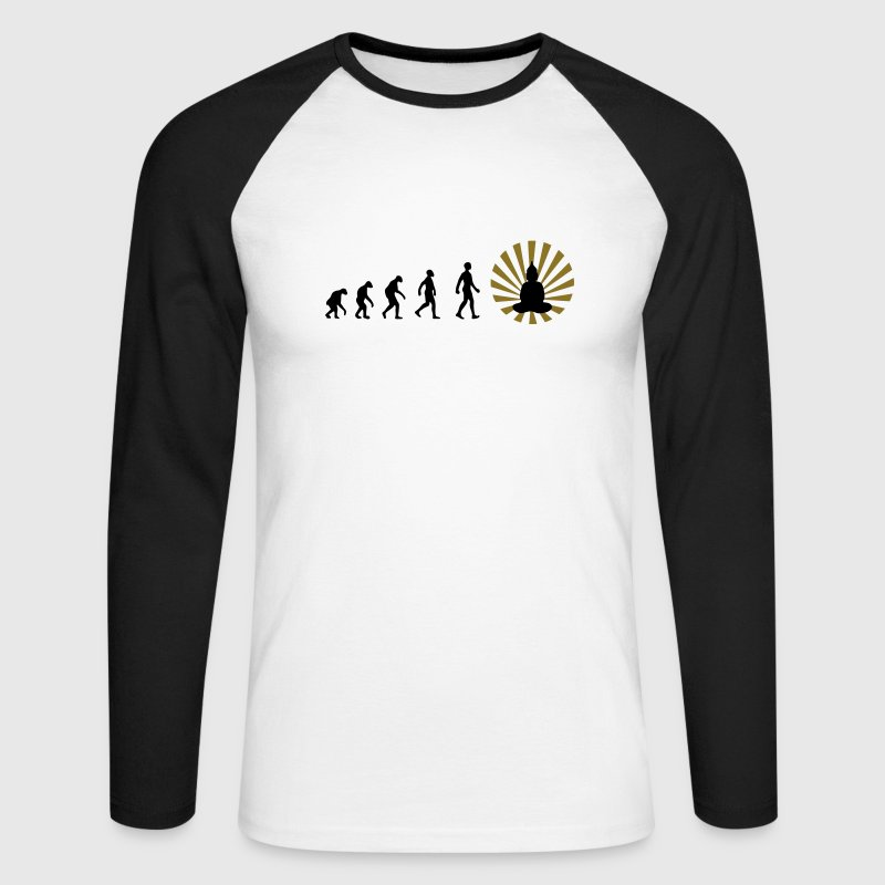 Darwin, evolution, revolution, enlightened, Buddha, buddhism, r, enlightenment, man, karma, strength, love, meditation, zen, yoga, relaxation, 2012, psy, goa, trance, esoteric, consciousness, sun, physiotherapy, therapy - Men's Long Sleeve Baseball T-Shirt