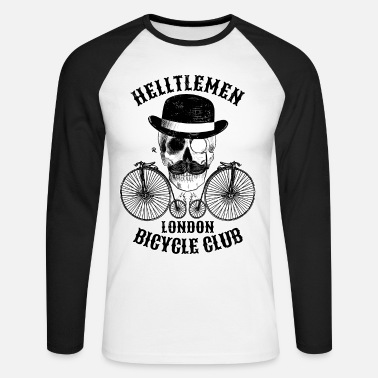 Skull and vintage bicycle (Helltlemen) - Men's Long Sleeve Baseball T-Shirt