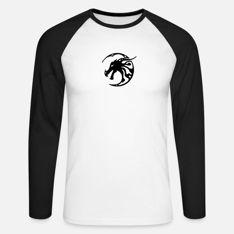 Mortal Long Sleeve Shirts - Dragon, tattoo, tribal, moon, moon, goth, gothic, celtic - Men's Longsleeve Baseball T-Shirt white/black