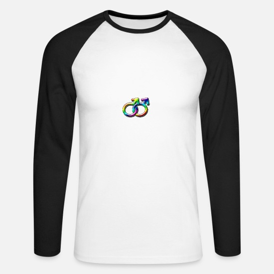 Gay Pride Long sleeve shirts - Males Together - Men's Longsleeve Baseball T-Shirt white/black