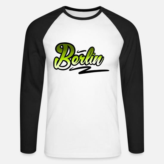 Friedrichshain Long sleeve shirts - Berlin - Men's Longsleeve Baseball T-Shirt white/black