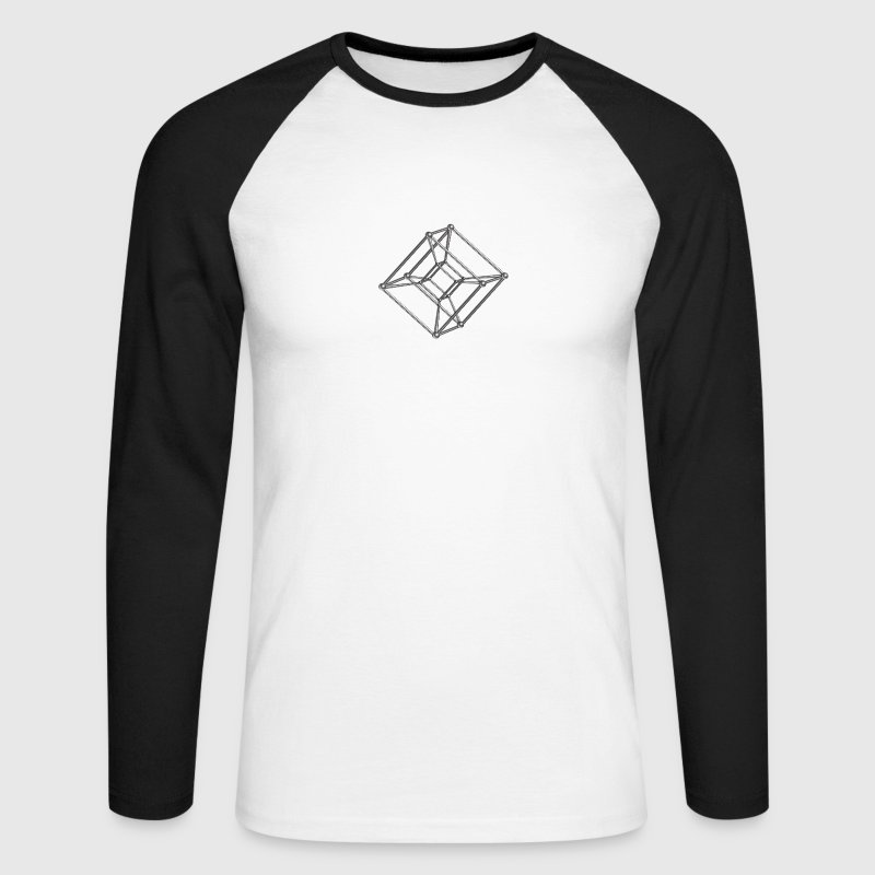 TESSERACT, Hypercube 4D, digital, Symbol - Dimensional Shift, Metatrons Cube, - Men's Long Sleeve Baseball T-Shirt